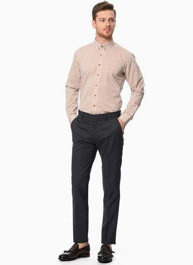 Network Slim Fit Uzun Kollu Gömlek Bej